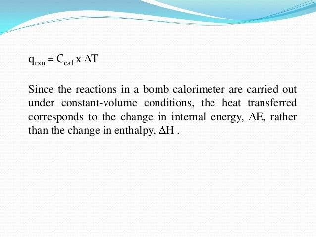 Equation For Bomb Calorimeter Bomb Calorimeter Equation in a
