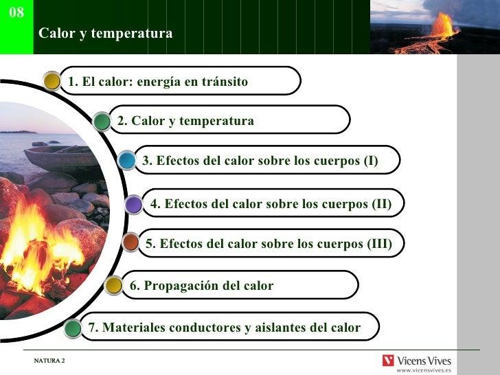 Calor y temperatura 08 1.  El calor: energ ía en tránsito   2.  Calor y temperatura   3.  Efectos del calor sobre los cuer...