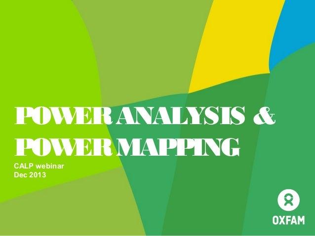 POW ANALYSIS & ER POW MAPPING ER CALP webinar Dec 2013