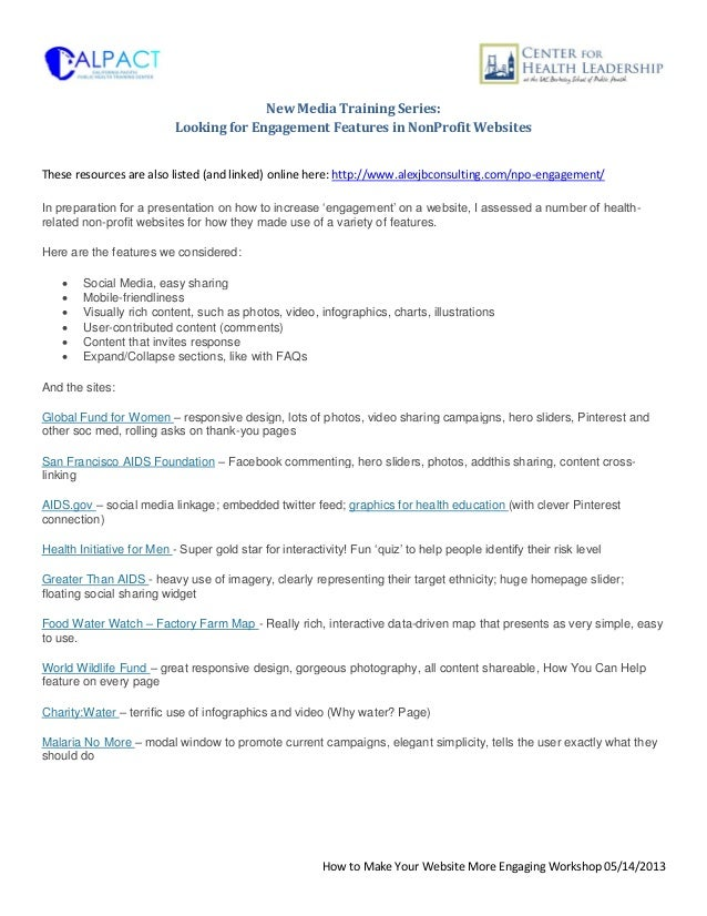 CALPACT Training: Engagement Features in Non Profit Websites