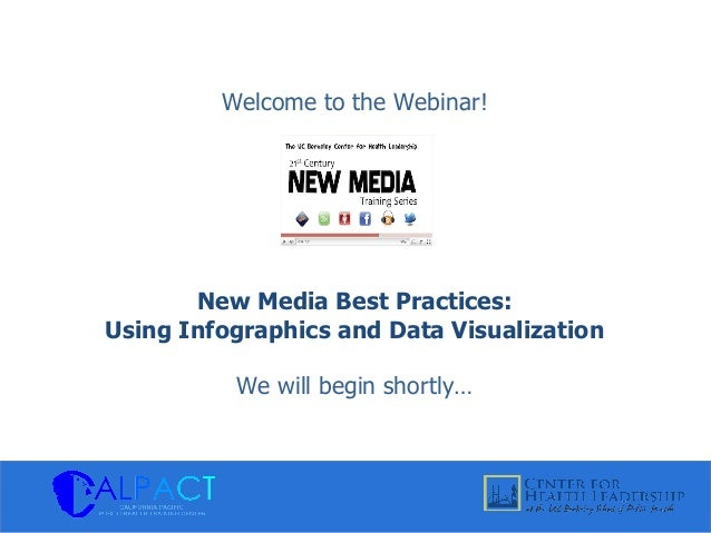 Welcome to the Webinar! New Media Best Practices: Using Infographics and Data Visualization We will begin shortly…