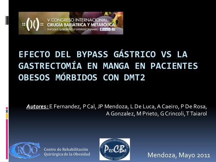 Efecto del bypass gástrico vs la gastrectomía en manga en pacientes obesos mórbidos con DMT2<br />Autores: E Fernandez, P ...