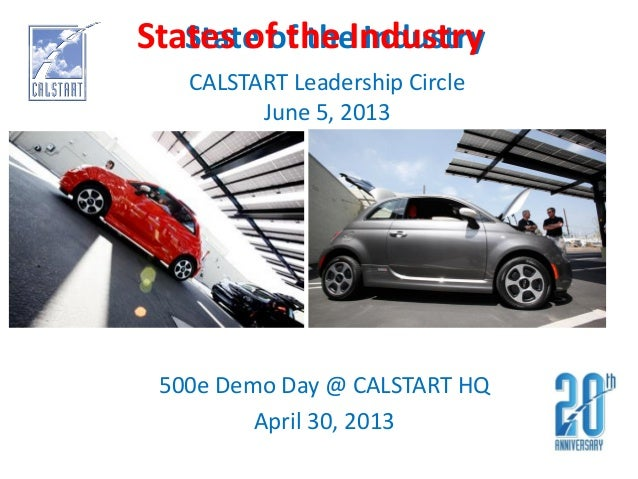 State of the Industry500e Demo Day @ CALSTART HQApril 30, 2013CALSTART Leadership CircleJune 5, 2013States of the Industry