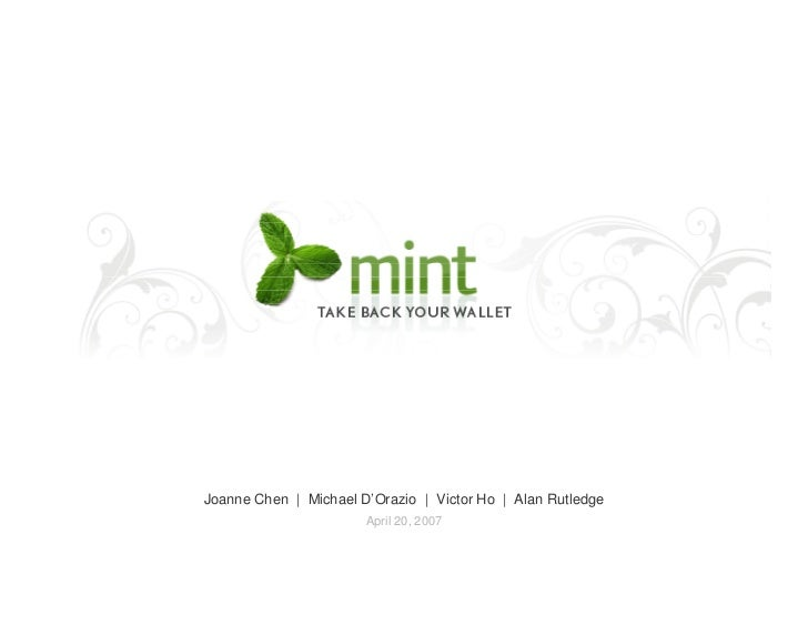 Mint.com Pre-Launch Pitch Deck