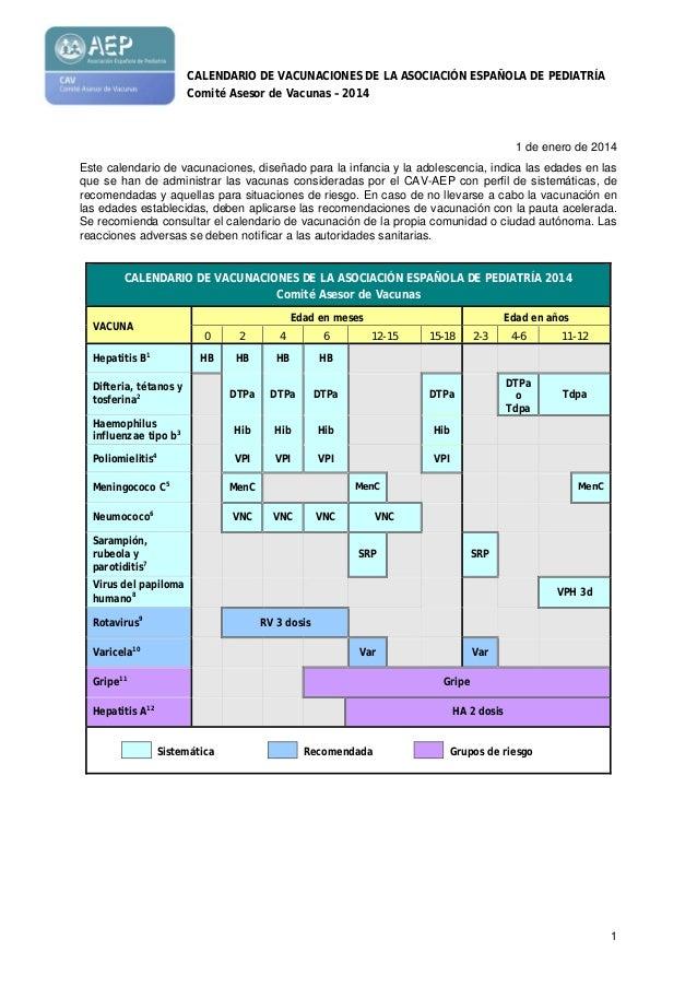 CALENDARIO DE VACUNACIONES DE LA ASOCIACIÓN ESPAÑOLA DE PEDIATRÍA Comité Asesor de Vacunas – 2014  1 de enero de 2014 Este...