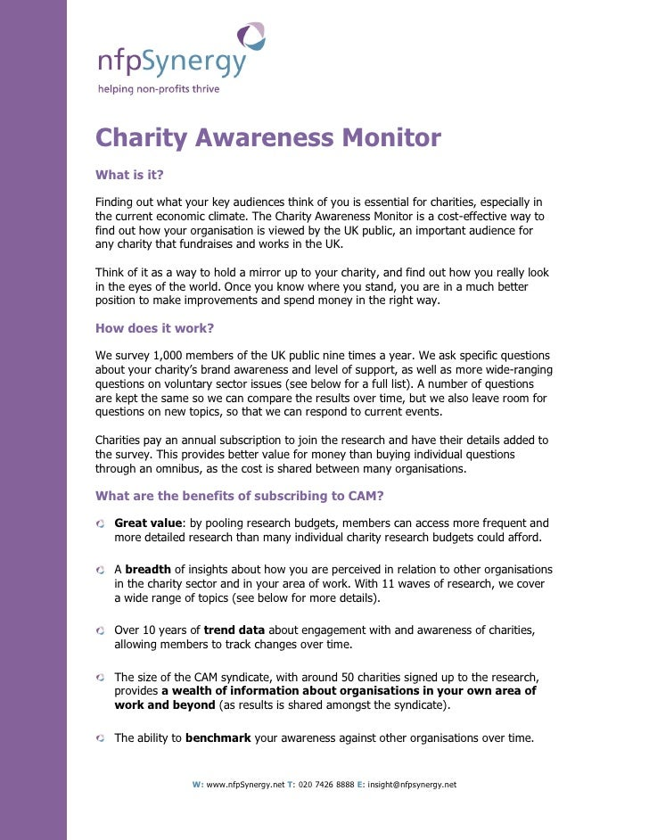 Charity Awareness Monitor What is it?  Finding out what your key audiences think of you is essential for charities, especi...