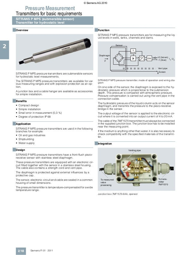 © Siemens AG 2010                 Pressure Measurement      Transmitters for basic requirements      SITRANS P MPS (submer...