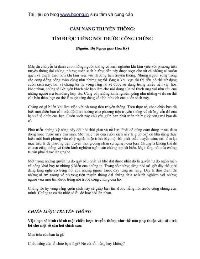 Tài liệu do blog www.boong.in sưu tầm và cung cấp CẨM NANG TRUYỀN THÔNG: TÌM ĐƯỢC TIẾNG NÓI TRƯỚC CÔNG CHÚNG (Nguồn: Bộ Ng...