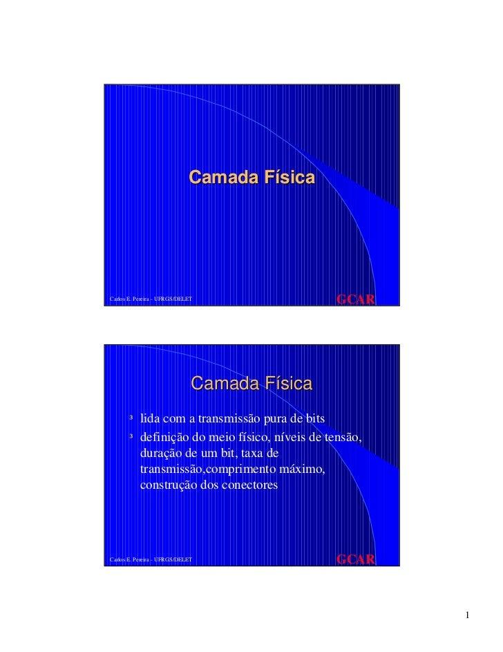 Camada FísicaCarlos E. Pereira - UFRGS/DELET                GCAR                              Camada Física       ³ lida c...