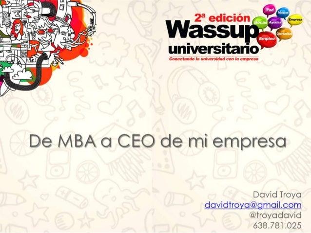 II Wassup Universitario Presentación David Troya