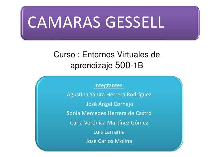CAMARAS GESSELL  Curso : Entornos Virtuales de      aprendizaje 500-1B               Integrantes:     Agustina Yanira Herr...