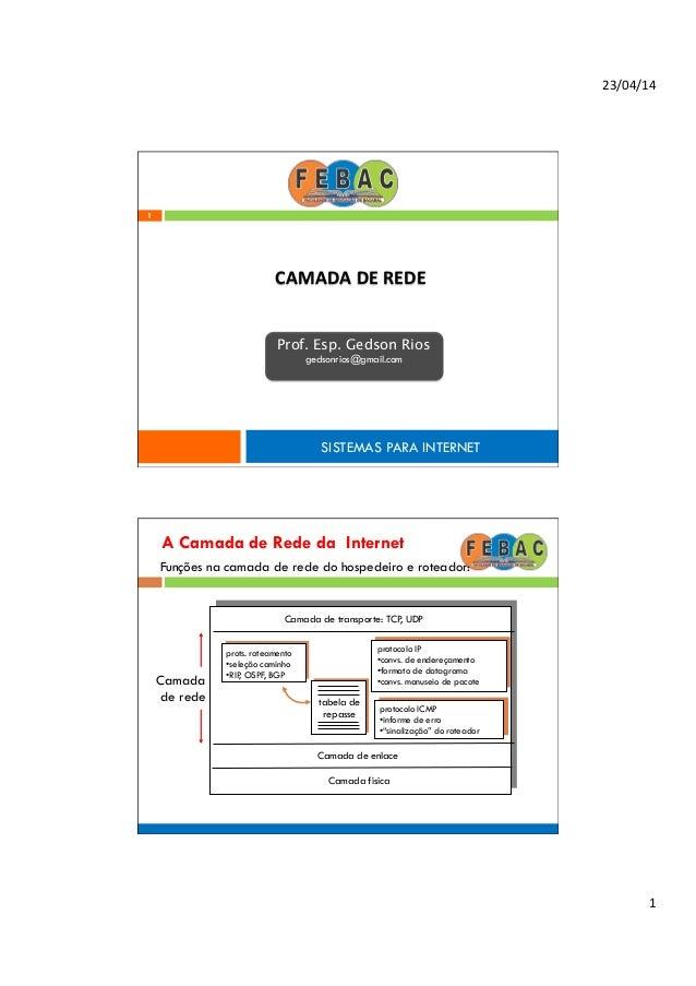 23/04/14   1   1 CAMADA  DE  REDE   SISTEMAS PARA INTERNET Prof. Esp. Gedson Rios gedsonrios@gmail.com A Camada ...