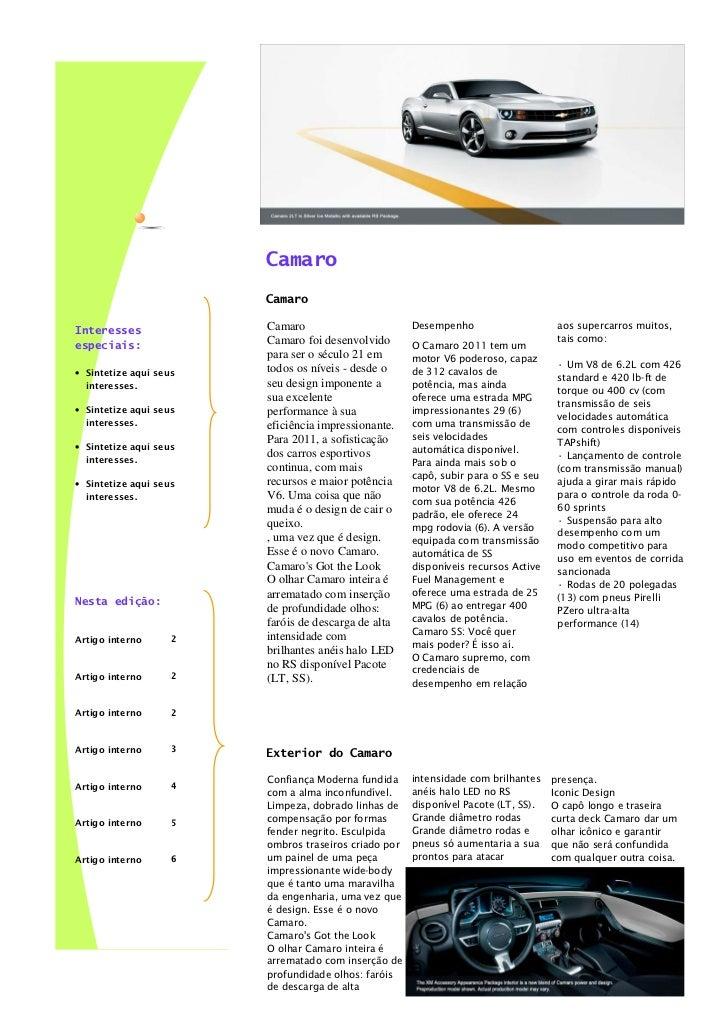 Volume 1, edição 1             Dia 13 de maio 2011                        Camaro                        Camaro            ...