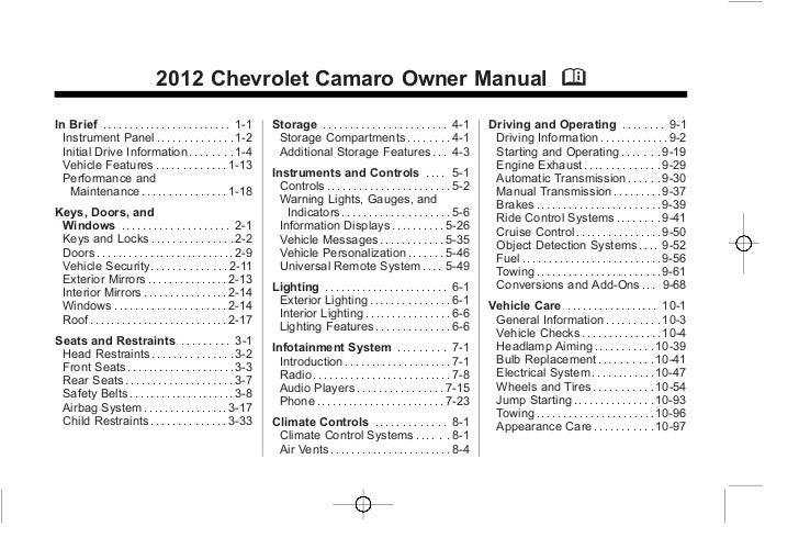 2012 Chevy Camaro Owners Manual Baltimore, Maryland