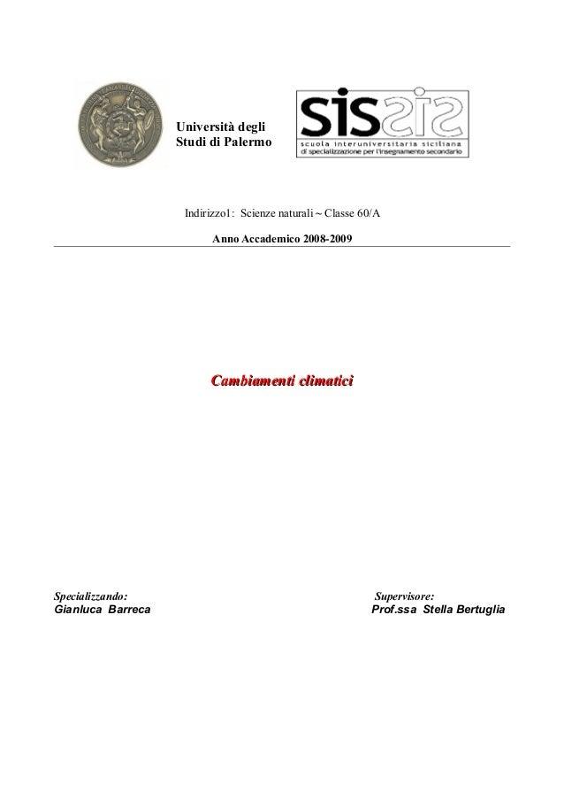 Università degliStudi di PalermoIndirizzo1: Scienze naturali ~ Classe 60/AAnno Accademico 2008-2009Cambiamenti climaticiCa...