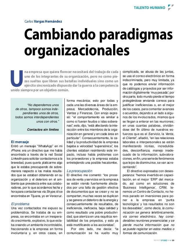 TALEnTO HumAnO          Carlos Vargas Hernández          Cambiando paradigmas          organizacionalesu         na empres...