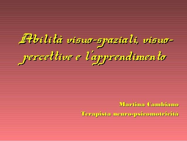 Abilità visuo-spaziali, visuo-Abilità visuo-spaziali, visuo- percettive e l'apprendimentopercettive e l'apprendimento Mart...