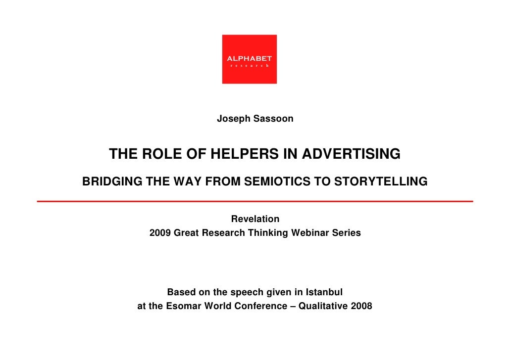"""Joseph Sassoons' """"The role of helpers in advertising""""  for Revelation's Great Research Thinking"""