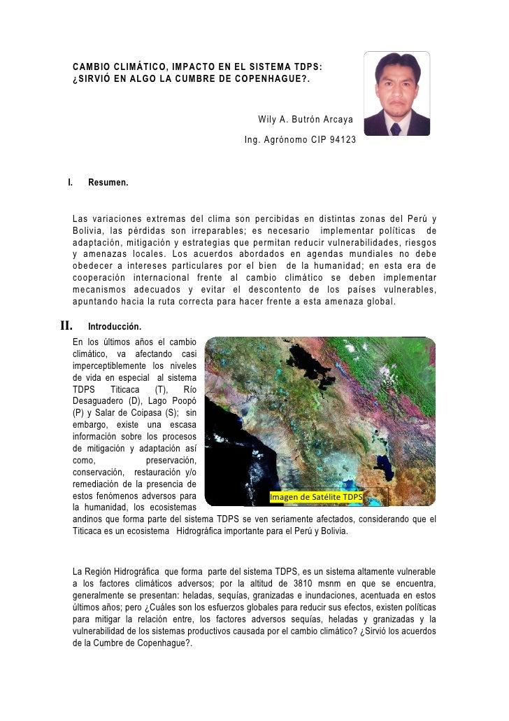 CAMBIO CLIMATICO EN EL (TDPS) LAGO TITICACA, RIO DESAGUADERO, LAGO POPOO Y SALAR DE COIPASA