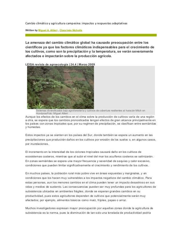 Cambio climático y agricultura campesina: impactos y respuestas adaptativas Written by Miguel A. Altieri , Clara Inés Nich...