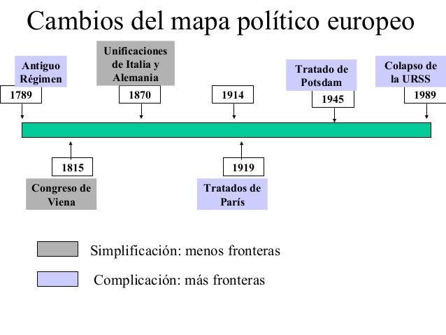 Cambios del mapa político europeo                  Unificaciones  Antiguo          de Italia y                   Tratado d...
