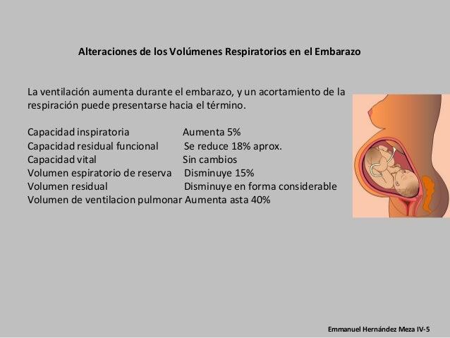 Alteraciones de los Volúmenes Respiratorios en el EmbarazoLa ventilación aumenta durante el embarazo, y un acortamiento de...