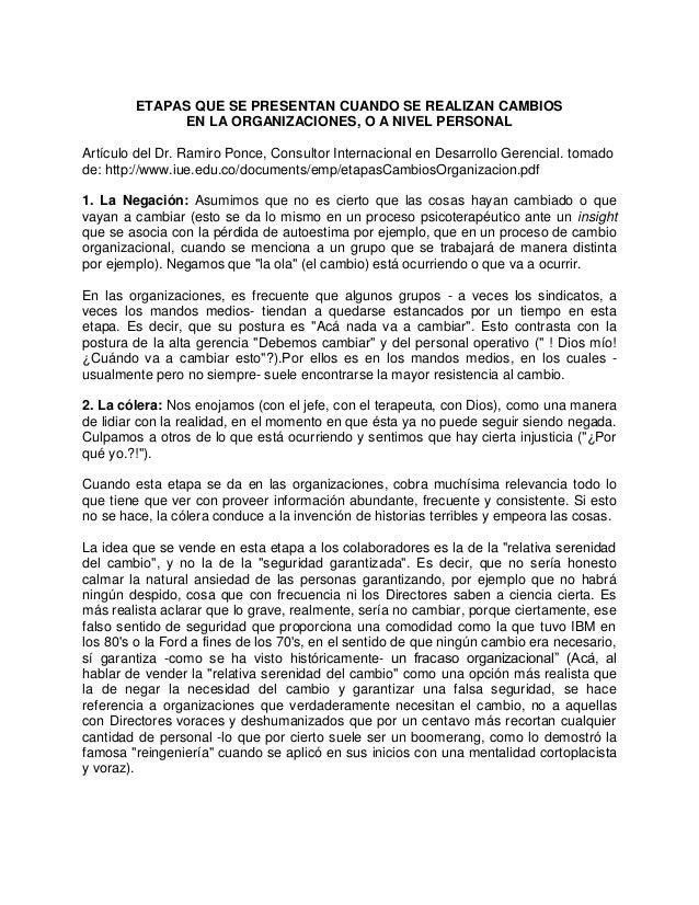 ETAPAS QUE SE PRESENTAN CUANDO SE REALIZAN CAMBIOS EN LA ORGANIZACIONES, O A NIVEL PERSONAL Artículo del Dr. Ramiro Ponce,...