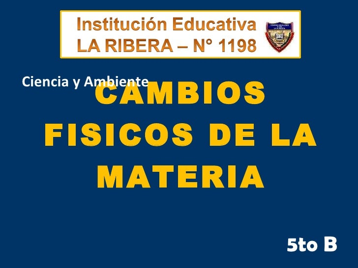 Cambios fisicos de la materia. Primaria. IE N°1198 La Ribera. Aula de Innovaciones pedagogicas.