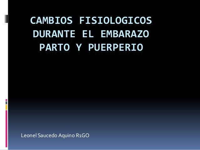 CAMBIOS FISIOLOGICOSDURANTE EL EMBARAZOPARTO Y PUERPERIOLeonel Saucedo Aquino R1GO