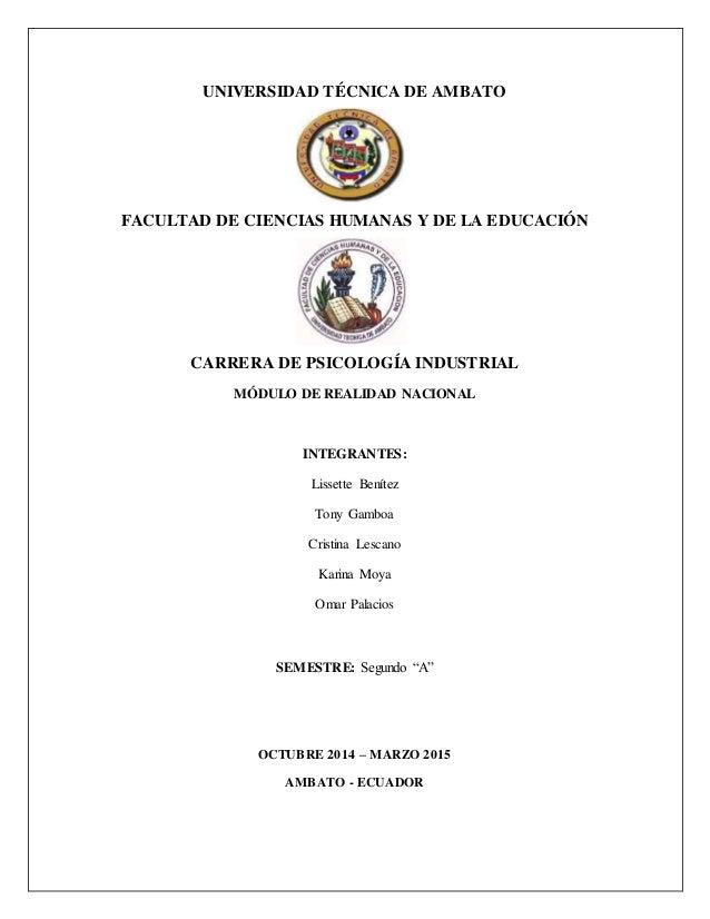 UNIVERSIDAD TÉCNICA DE AMBATO FACULTAD DE CIENCIAS HUMANAS Y DE LA EDUCACIÓN CARRERA DE PSICOLOGÍA INDUSTRIAL MÓDULO DE RE...