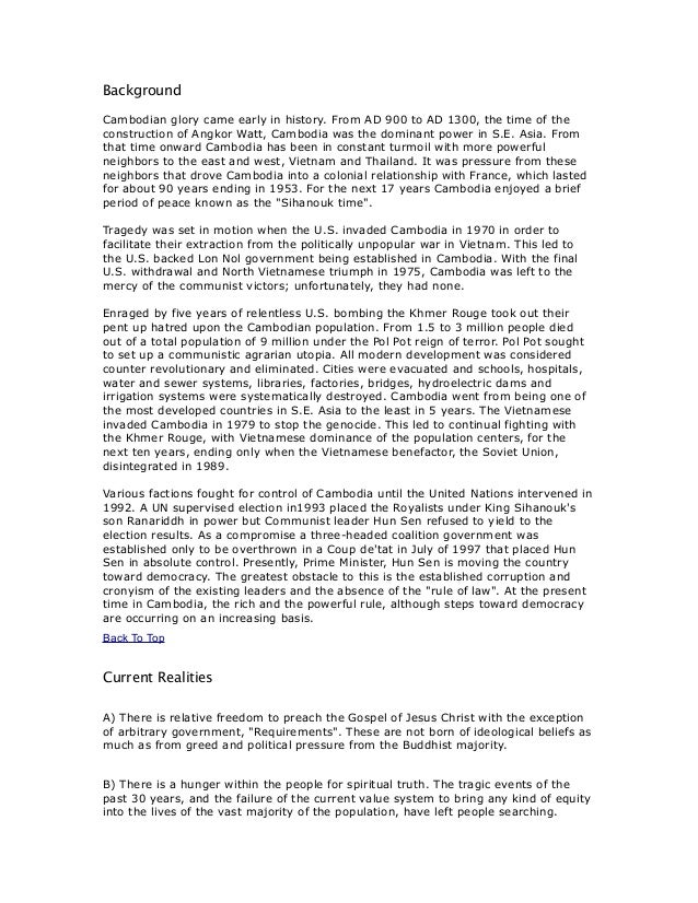 Cambodia background info
