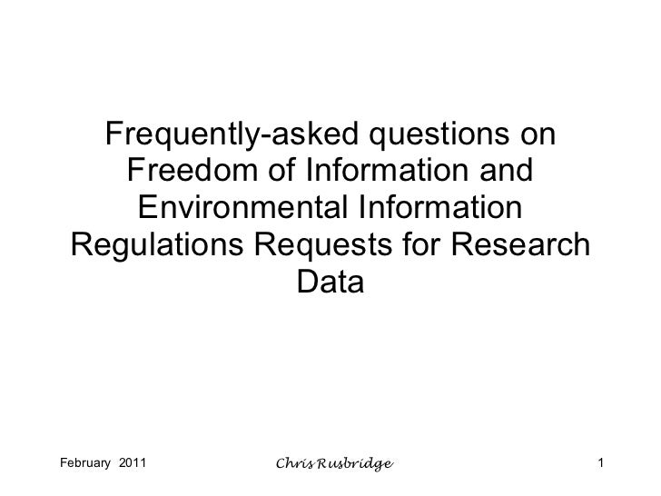 Frequently-asked questions on Freedom of Information and Environmental Information Regulations Requests for Research Data