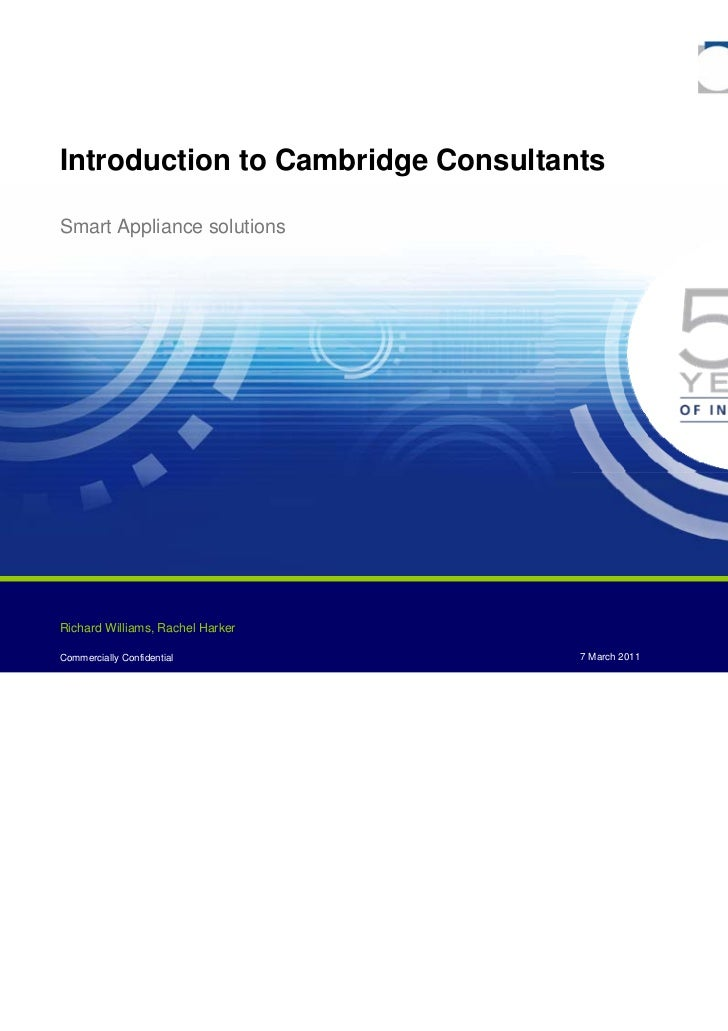 Introduction to Cambridge ConsultantsSmart Appliance solutions                                                          Pa...