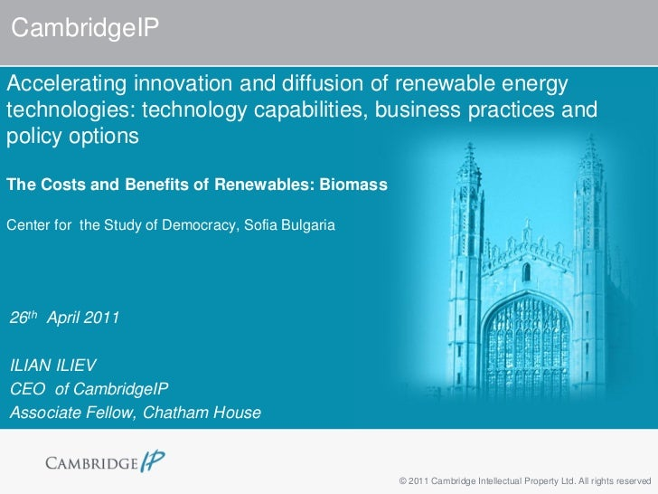 CambridgeIPAccelerating innovation and diffusion of renewable energytechnologies: technology capabilities, business practi...