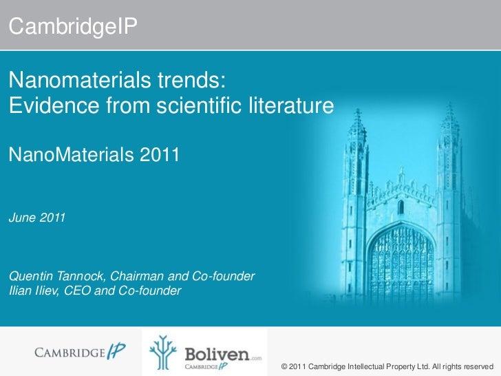 Nanomaterials: Patenting Trends June 2011