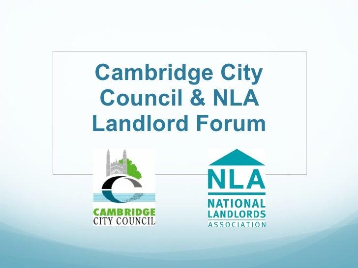 Cambridge City Council & NLA Landlord Forum