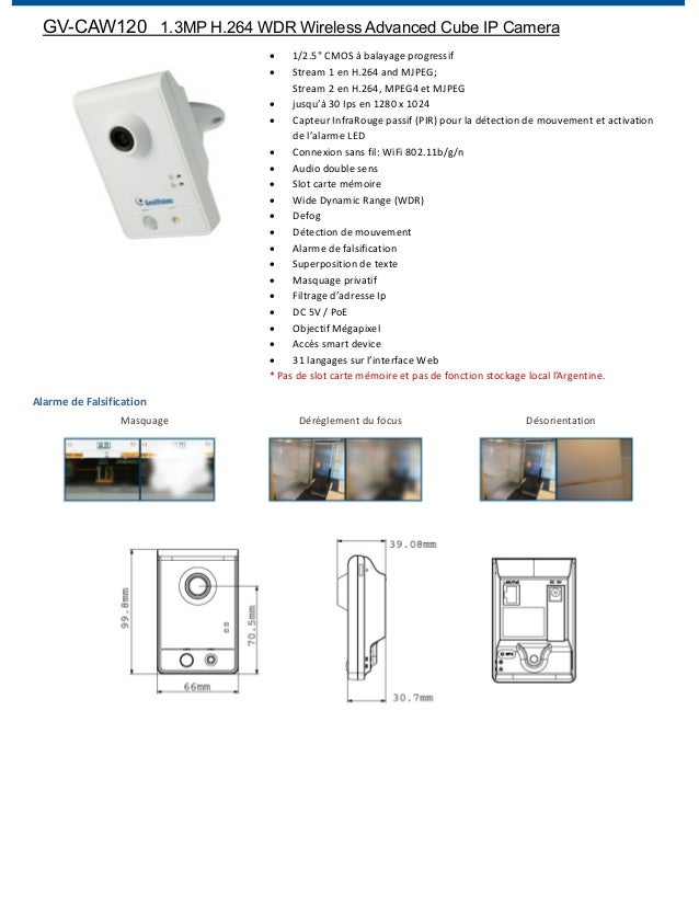 "GV-CAW120 1.3MP H.264 WDR Wireless Advanced Cube IP Camera 1/2.5"" CMOS à balayage progressif Stream 1 en H.264 and MJPEG; ..."