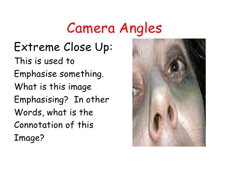 Camera Angles<br />Extreme Close Up:<br />This is used to <br />Emphasise something.<br />What is this image <br />Emphasi...