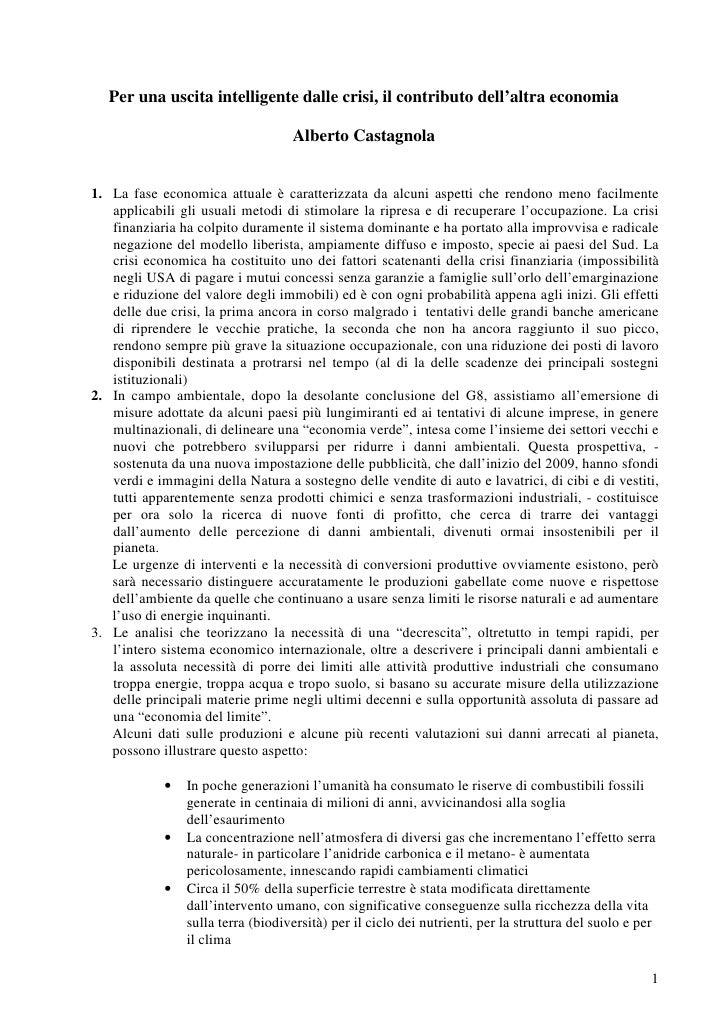 """Camera del lavoro  testo relazione Alberto Castagnola """"Per una uscita intelligente dalle crisi"""""""