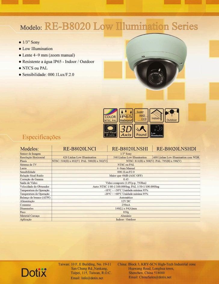 Câmera RE-8020LNCI - LNSHI - LNSHDI Dotix
