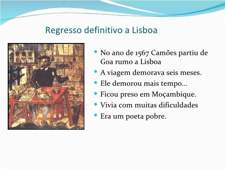 Luis de Camoes regresso a lisboa