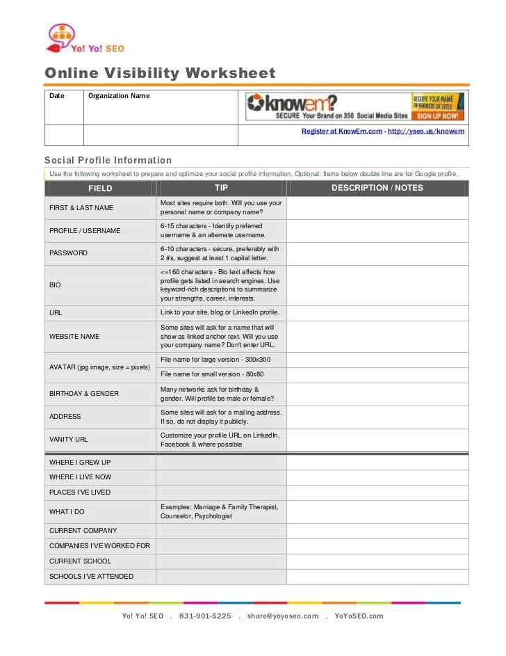 Online Visibility WorksheetDate         Organization Name                                                                 ...