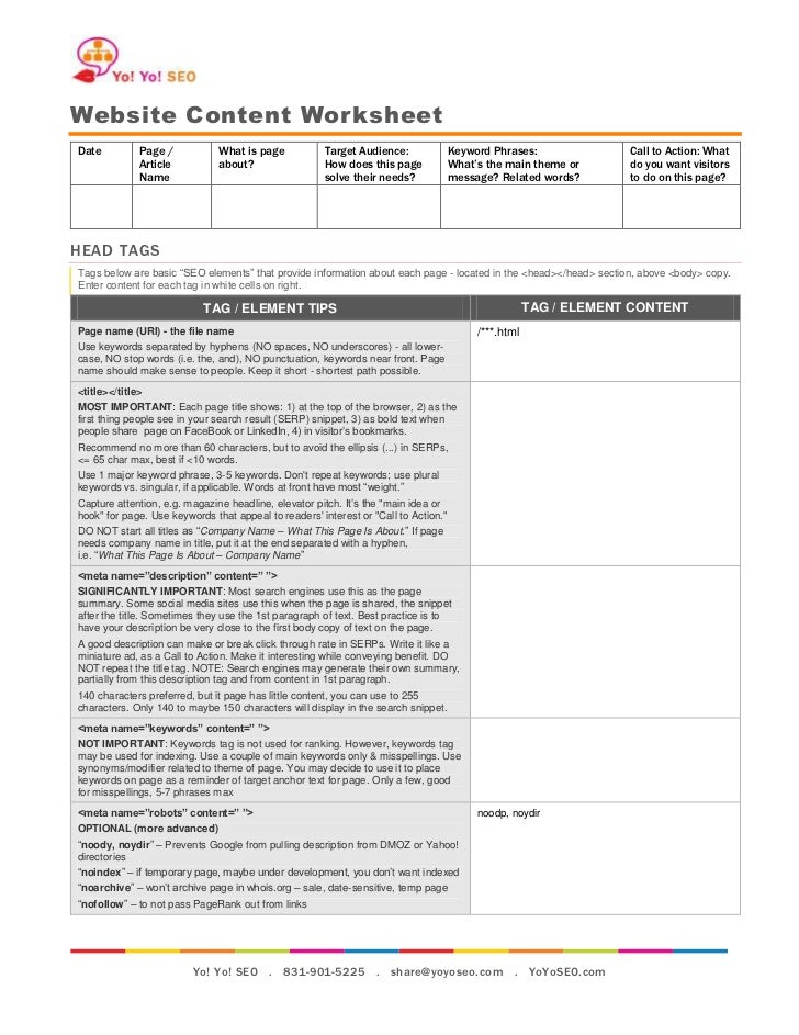 Website Content WorksheetDate          Page /           What is page           Target Audience:               Keyword Phra...