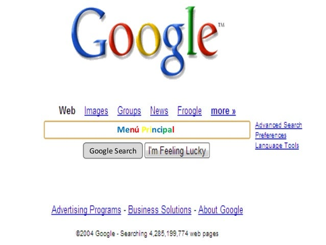 Menú PrincipalGoogle Search