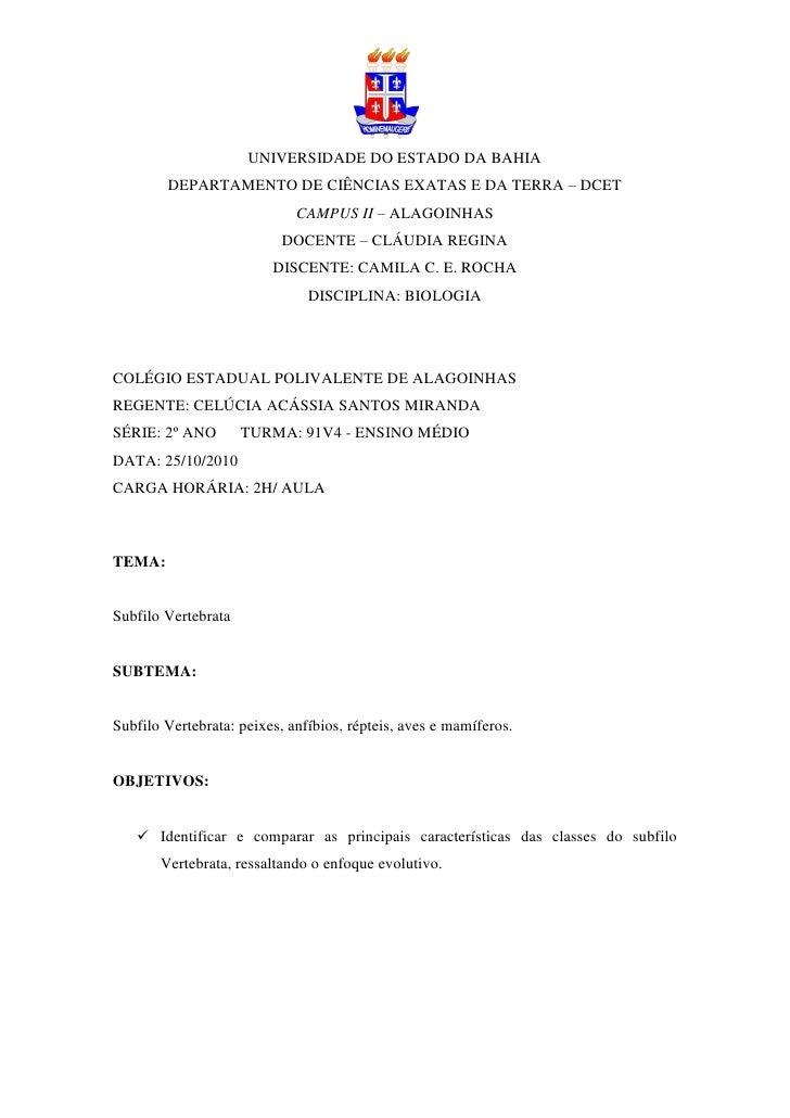 UNIVERSIDADE DO ESTADO DA BAHIA        DEPARTAMENTO DE CIÊNCIAS EXATAS E DA TERRA – DCET                             CAMPU...