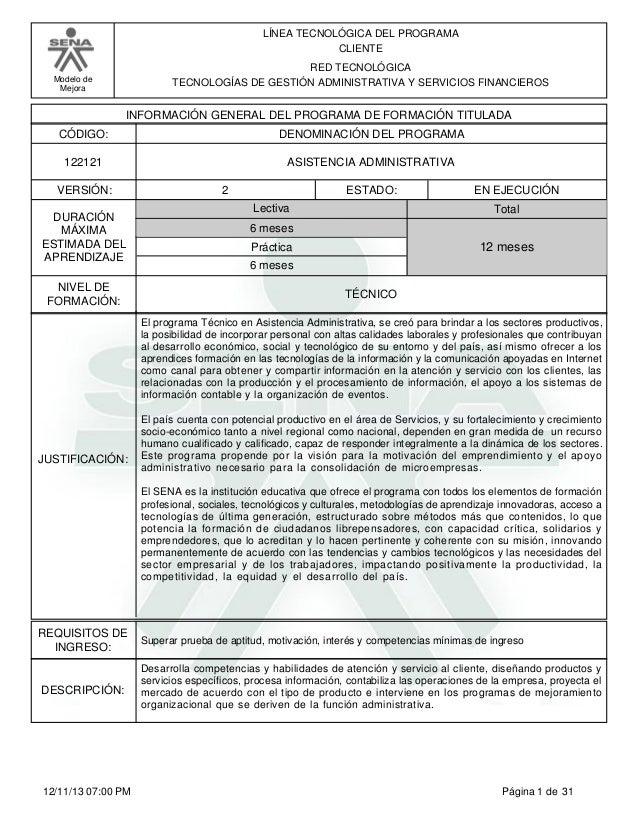 Modelo de Mejora LÍNEA TECNOLÓGICA DEL PROGRAMA CLIENTE RED TECNOLÓGICA TECNOLOGÍAS DE GESTIÓN ADMINISTRATIVA Y SERVICIOS ...