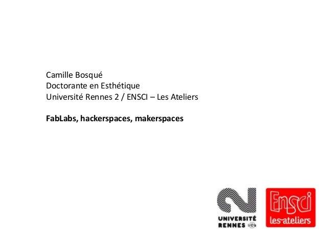 Camille Bosqué Doctorante en Esthétique Université Rennes 2 / ENSCI – Les Ateliers  FabLabs, hackerspaces, makerspaces