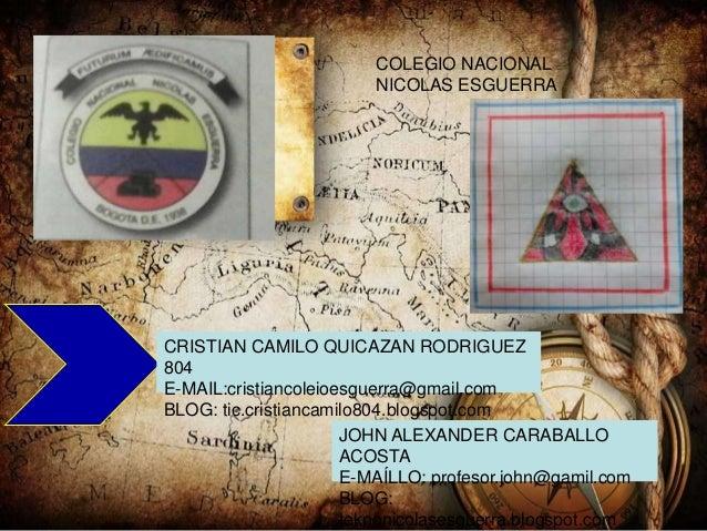 COLEGIO NACIONAL NICOLAS ESGUERRA CRISTIAN CAMILO QUICAZAN RODRIGUEZ 804 E-MAIL:cristiancoleioesguerra@gmail.com BLOG: tic...