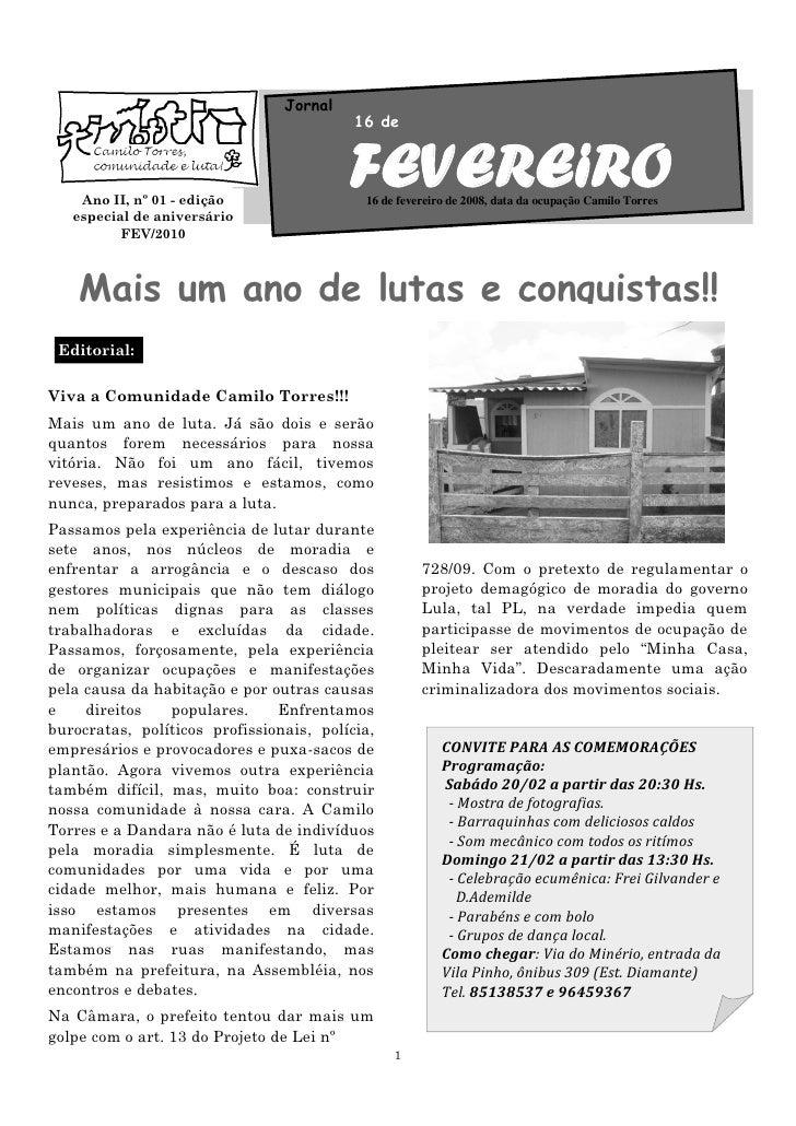 Jornal                                           16 de        Ano II, nº 01 - edição                                      ...