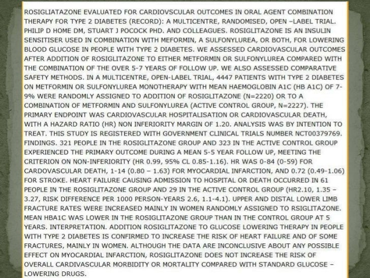 ROSIGLITAZONE EVALUATED FOR CARDIOVASCULAR OUTCOMES IN ORAL AGENT COMBINATIONTHERAPY FOR TYPE 2 DIABETES (RECORD): A MULTI...